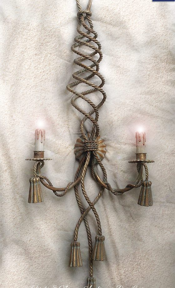 Corda e Nappe. Applique a 2 luci. Oro Verde