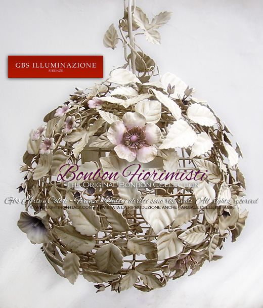 Bonbon Fiorimisti. Mixed Flower Bonbon Hanging Lamp