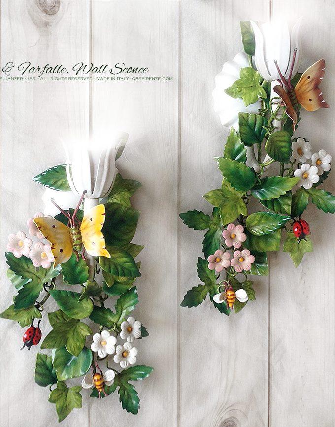 Bosco & Farfalle – Applique a 1 Luce. Ferro battuto e decorato a mano. Design: Renee Danzer. Made in Italy