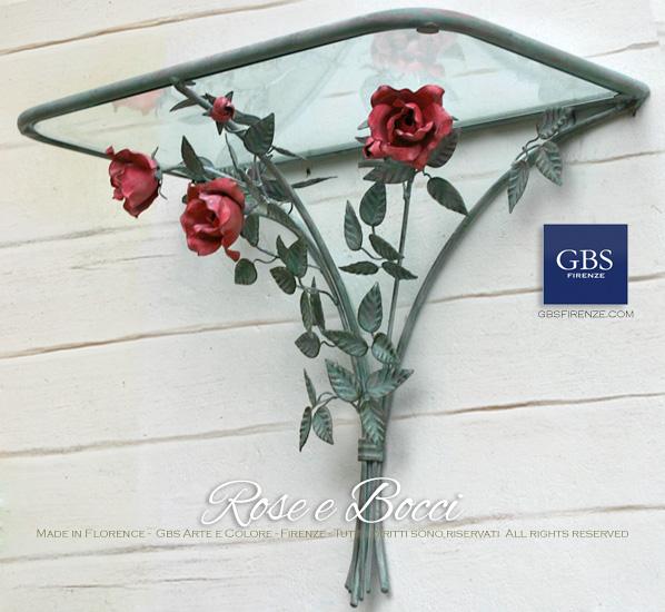 Consolle Mensola Rose - GBS Ferro battuto