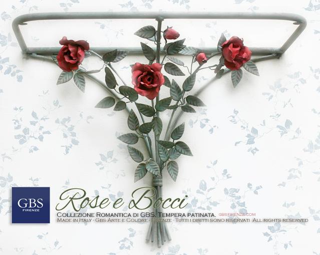 Consolle a muro Rose e bocci di rosa