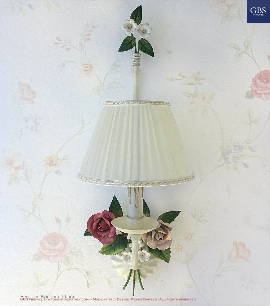 Applique Bouquet – 1 Luce. Rose e Fiori fragola.