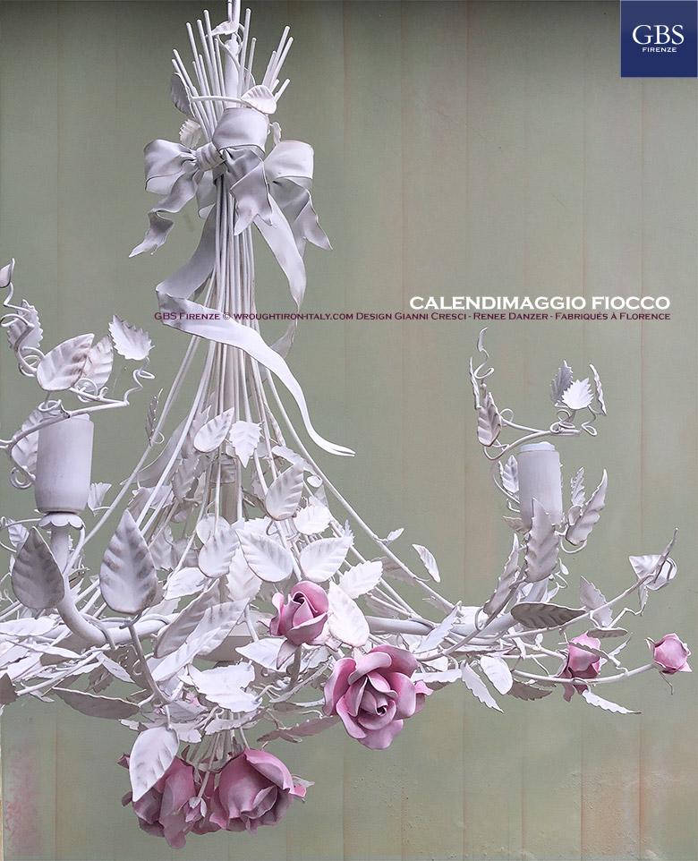 Lampadario Calendimaggio Fiocco e Rose- GBS. Ferro battuto. Design Gianni Cresci e Renee Danzer