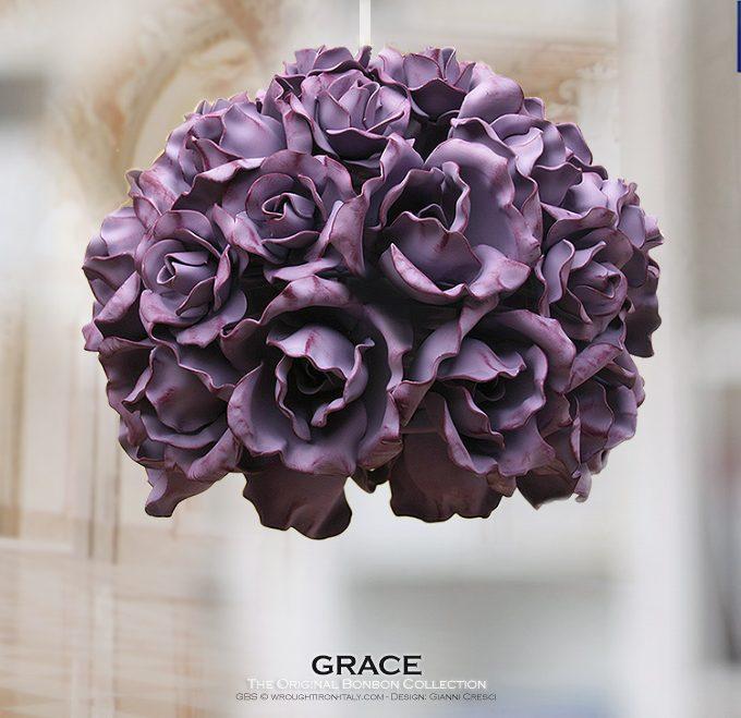 Grace. Rose Fiorite. 1-light Pendant. Blooming Roses.