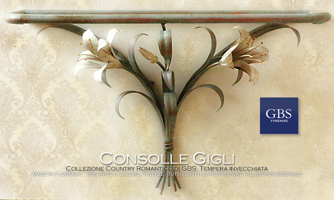 Lilies shelf. Hand-painted wrought iron