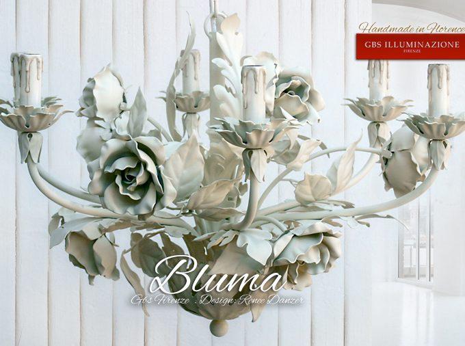 Bluma di GBS. Lampadario in ferro battuto e decorato a mano.