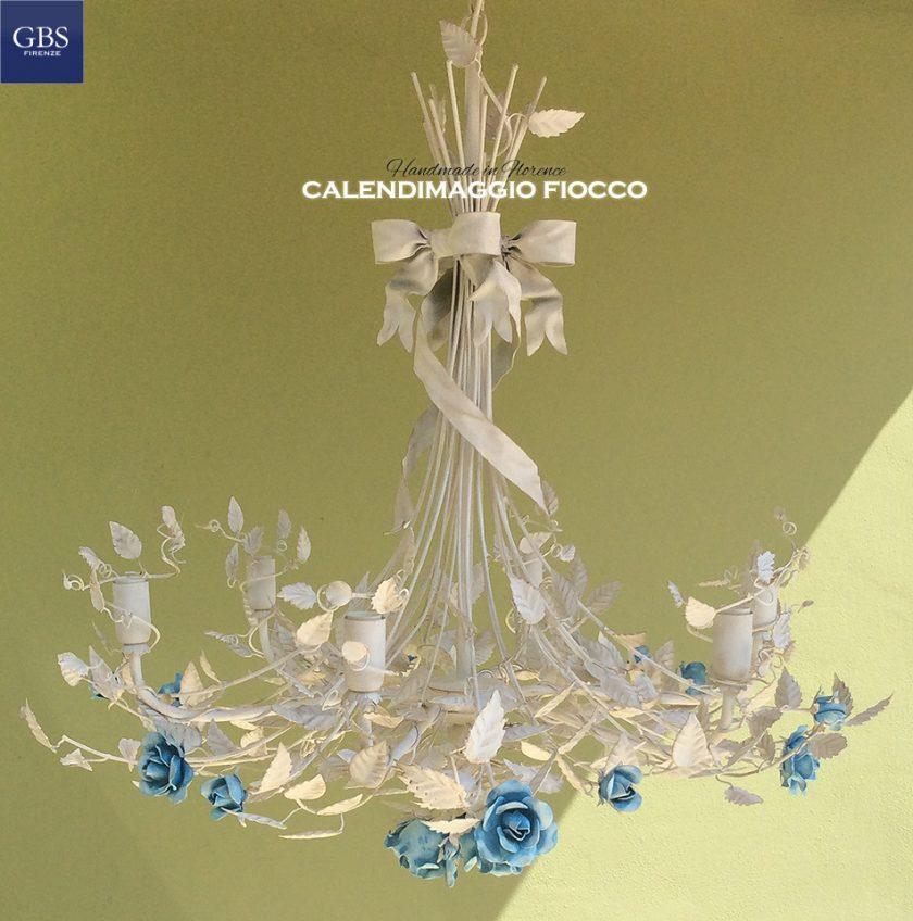 Lampadario Calendimaggio Fiocco. Versione a 6 Luci in tempera. Design: Gianni Cresci e Renee Danzer