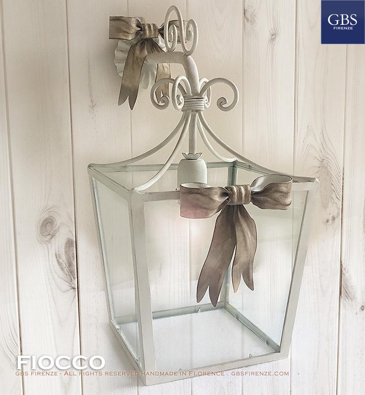 Lanterna Fiocco. Versione a parete. Applique ad 1 luce. Lanterna a 4 lati.
