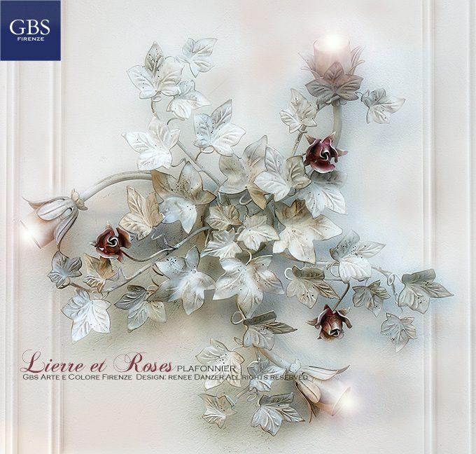 Plafoniera con Edera e Rose a tre luce esterne, in bianco patinato, rose rosa.