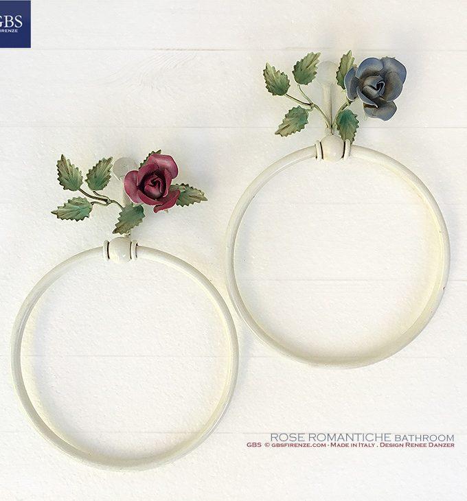Bagno Rose Romantiche.Portasciugamani da muro, ad anello.