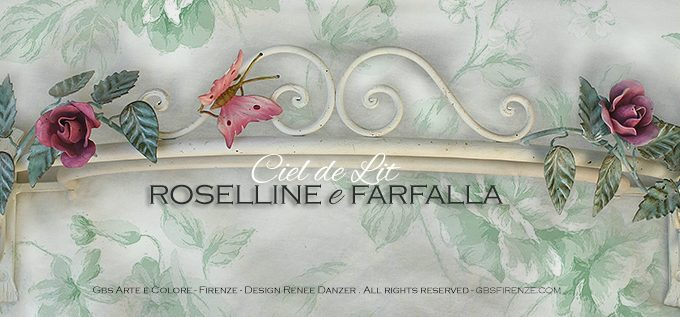Baldacchino Ciel de Lit Roselline e Farfalla. Tempera bianca invecchiata.