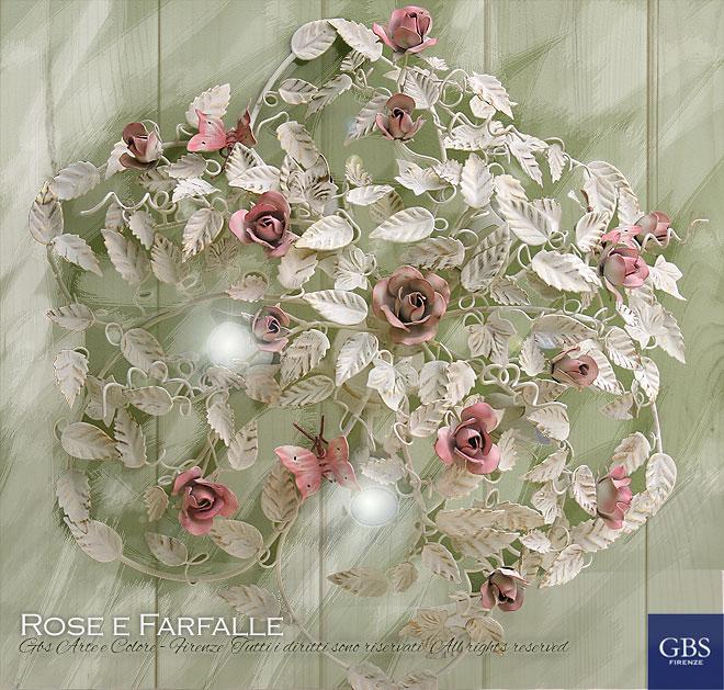 Rose e Farfalle Plafoniera