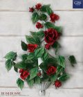 Roserosse. Applique versione a 1 e 3 luci. Rose Rosse. Ferro battuto e decorato a mano.