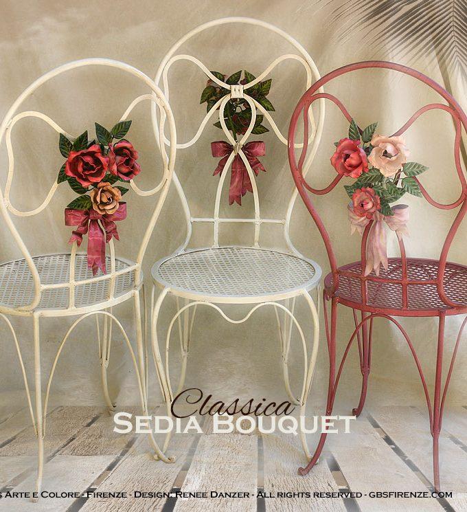 Sedia Bouquet di Rose. Fiocco centrale. Ferro battuto e decorato a mano.