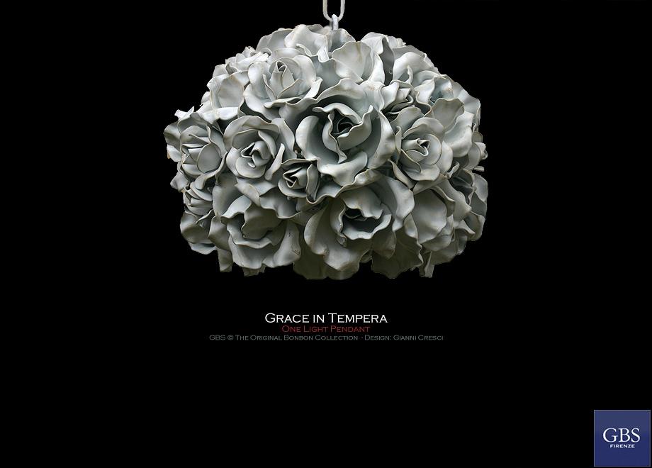 Grace. 1 light. Sospensione. Colore bianco. Rose. Bonbon Lamps Design: Gianni Cresci