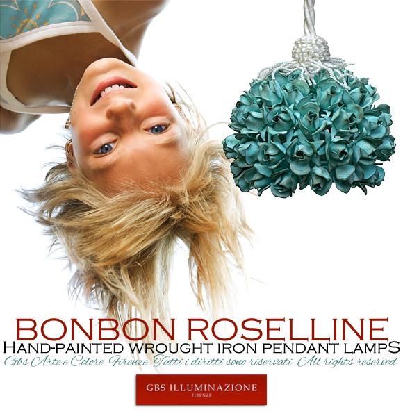 Bonbon Roselline. Sospensione in tempera a 1 Luce