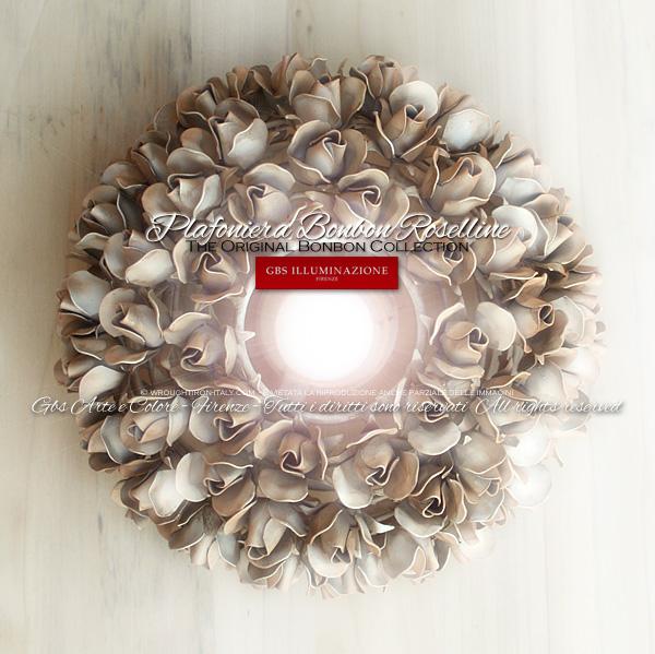 Plafoniera 1 Luce – Bonbon Roselline – Ferro Battuto.Made in Italy. Design: Gianni Cresci