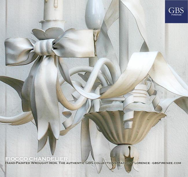 Dettaglio del Fiocco. L'autentico lampadario Fiocco di GBS in ferro battuto e decorato a mano.