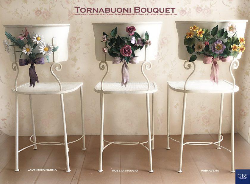Sedia Torbauoni Bouquet: Lady Margherita, Rose di Maggio e Primavera. Ferro battuto e decorato a mano