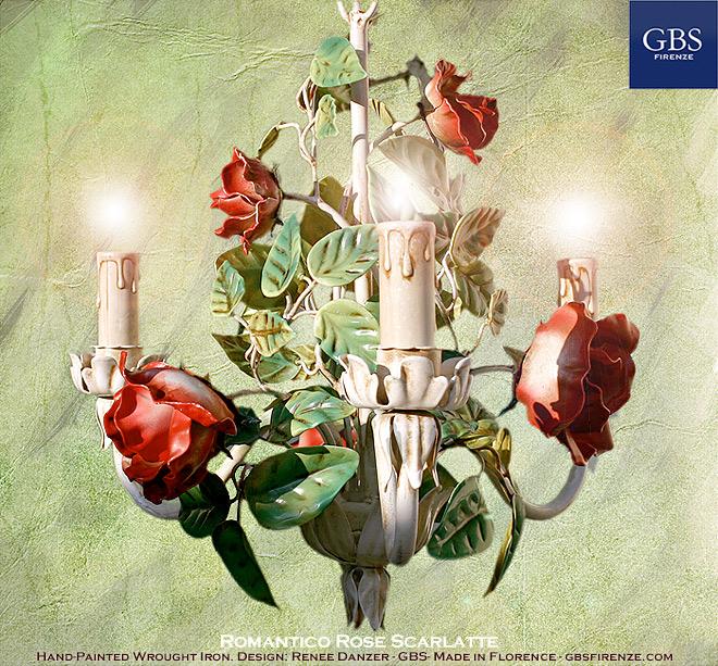 Lampadario Romantico a 3 Luci. Rose scarlatte. Ferro battuto