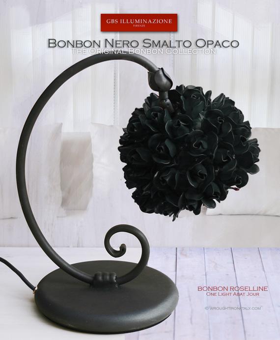 Bonbon Lamp Roselline in smalto nero opaco. Lampada da tavolo. Abat Jour in ferro battuto