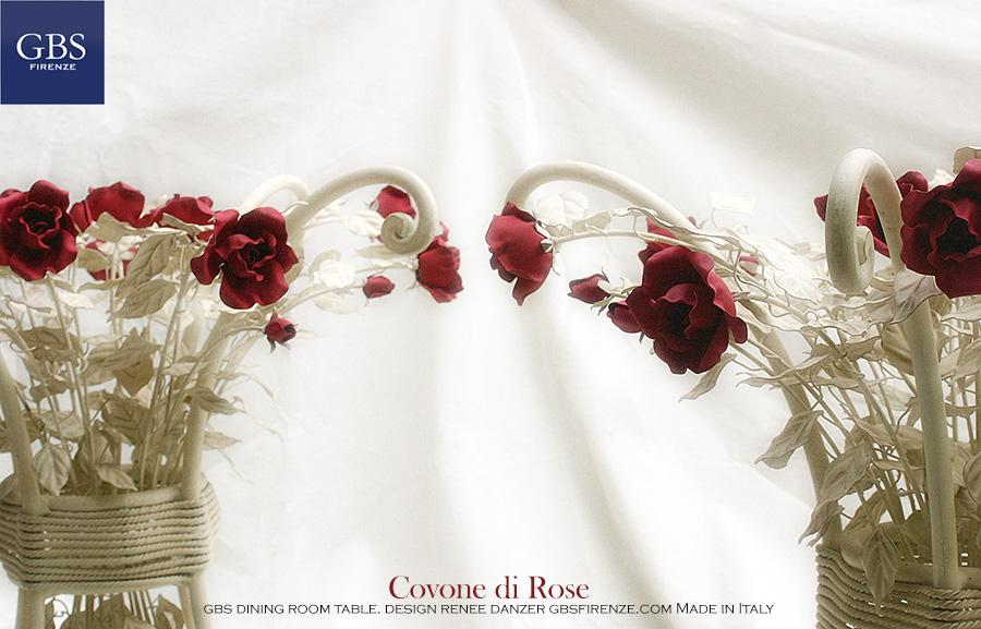 L'autentico Tavolo Covone di Rose a 4 gambe in ferro forgiato. Tavolo da pranzo. Ferro battuto e decorato a mano.