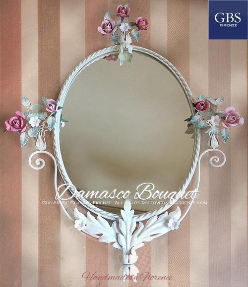Damasco Bouquet. Specchiera ovale. Rose e Fiori Fragola.