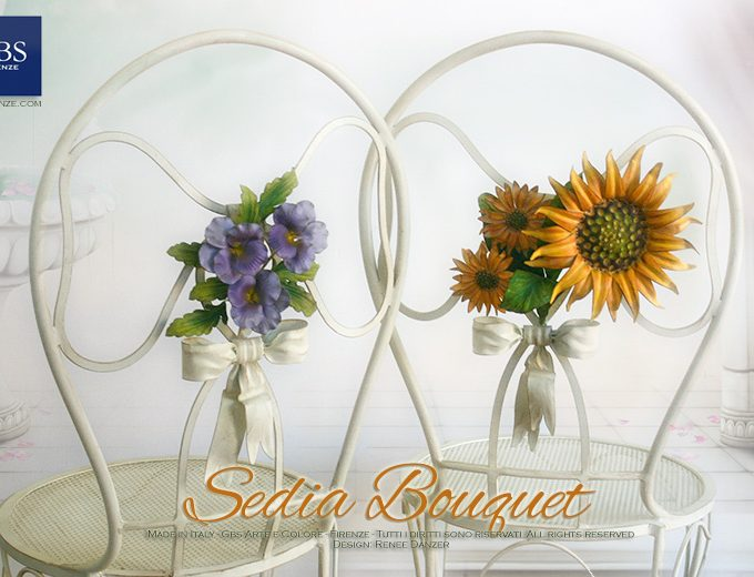 Sedia Bouquet. Girasoli e Viole. GBS, Made in Florence