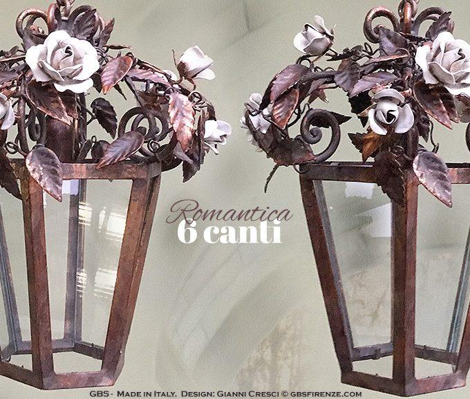Romantica a 6 Canti. Versione con Rose bianche. Lanterna in Ferro battuto e decorato a mano.
