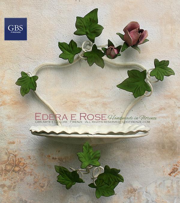 Portasapone da muro Edera e rose