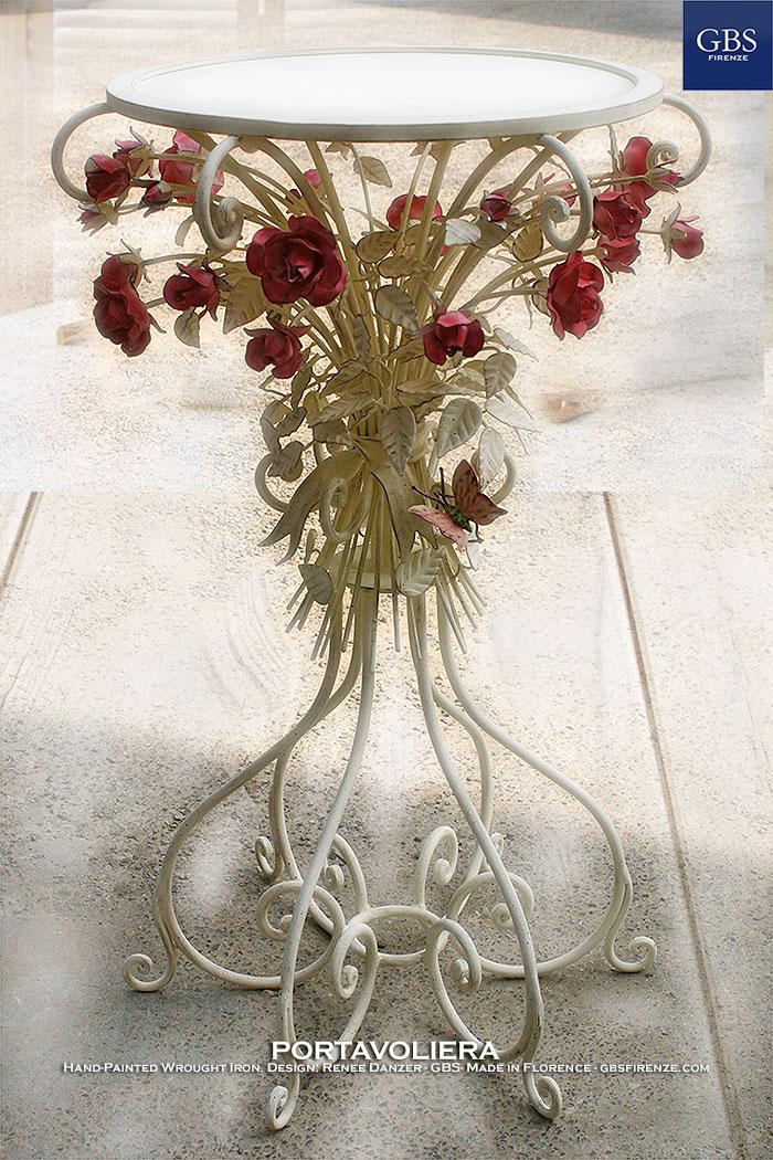 Tavolino Portavoliera con Rose e Farfalla. Ferro battuto