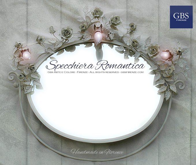 Specchiera Romantica con tre punti luce. Specchio da parete, basculante