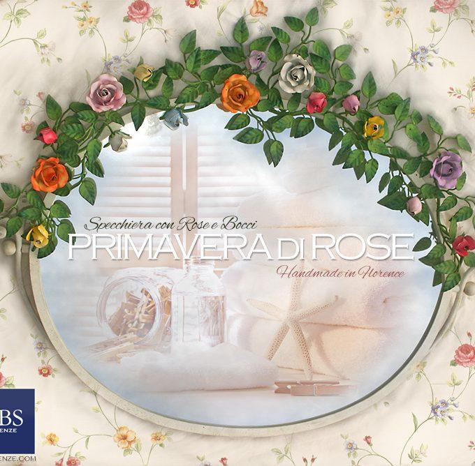 Specchio Primavera di Rose. Specchiera basculante con rose e bocci