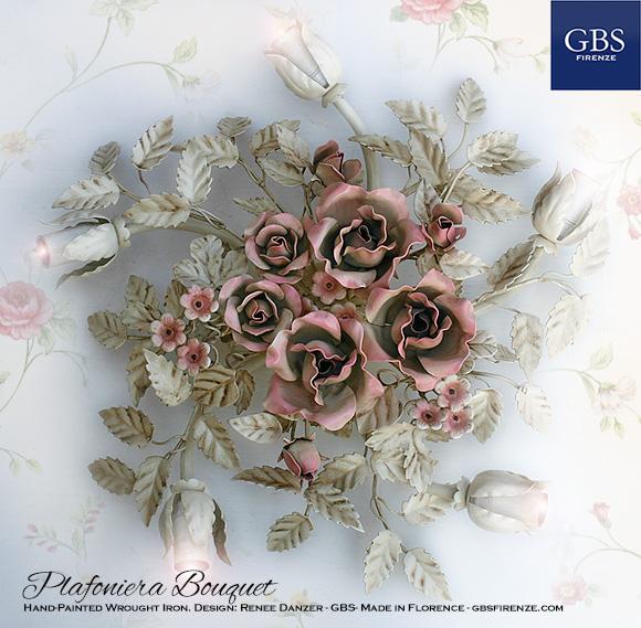 Plafoniera Bouquet con rose e fiori fragola.