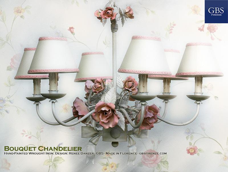 Lampadario Bouquet. 6 Luci. Tempera Bianca anticata.Sfumature del Rosa. Fiocco centrale. Bouquet di Rose.