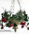 Lampadario Fioriera Rose rosa e amaranto. Versione Rose Rampicanti a 3 Luci.