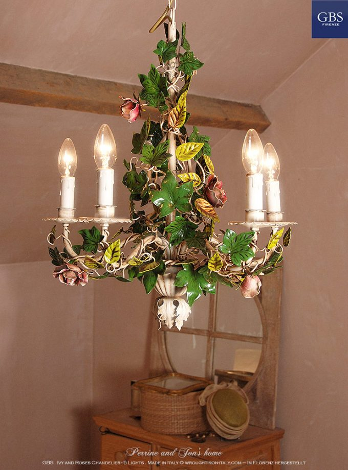 Ivy and Roses Chandelier – 5 Lights - wrought iron - Shabby and county Which Tuscany Collection. Made in Florence