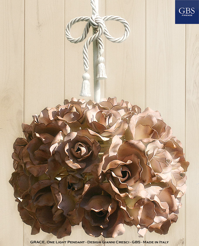 Grace. Roses Pendant lamp. With bow and iron stem