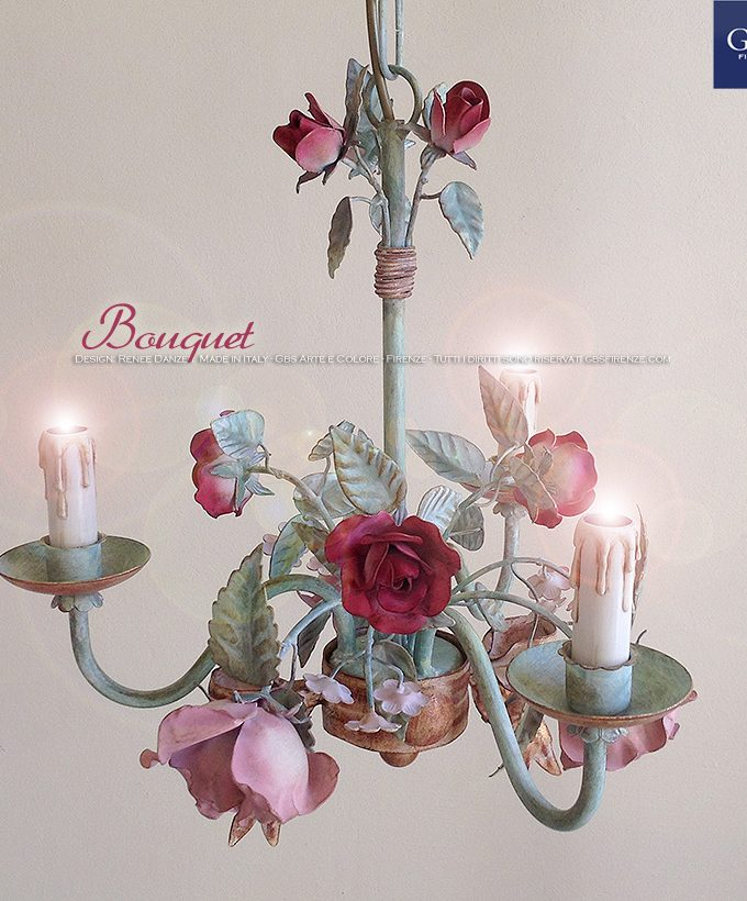 Lampadario Bouquet di rose a 3 Luci in Tempera GBS Ferro battuto e decorato a mano