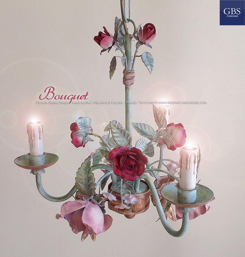 Lampadario Bouquet di rose a 3 Luci in Tempera GBS Ferro battuto e decorato a mano