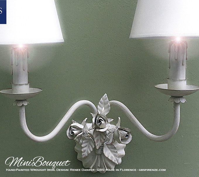 MiniBouquet Bocci di Rosa. Applique a 2 Luci. Design Renee Danzer. Made in Italy. Ferro battuto e decorato a mano.
