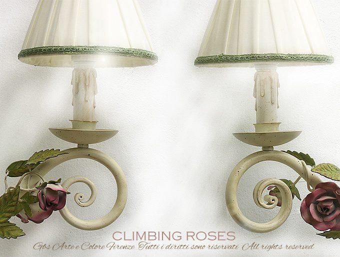 Applique Torciera da muro con rose rampicanti