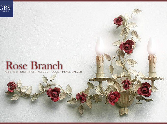 Applique Ramo di Rose a 2 luci, tempera bianca. Ferro battuto bianco anticato, applique romantico con rose e roselline.