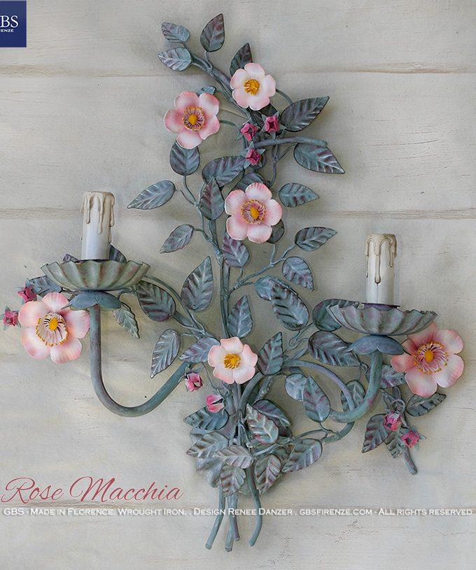 Rose Macchia. Applique a 2 Luci,ferro battuto decorato a mano. Tempera.