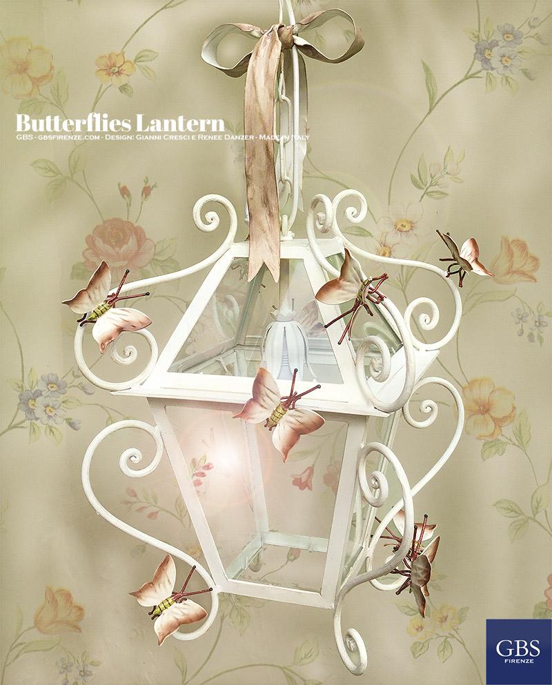 Lanterna Piccole Farfalle. Con Fiocco. Caffellatte. Misura grande: cm.35 Cameretta romantica e fiabesca. Lanterna in ferro battuto e decorato a mano