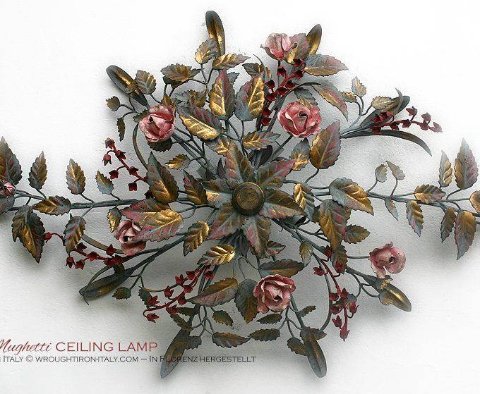Plafoniera Rose e Mughetti in tempera e oro. Di forma allungata e ovale con 4 punti luce nascosti