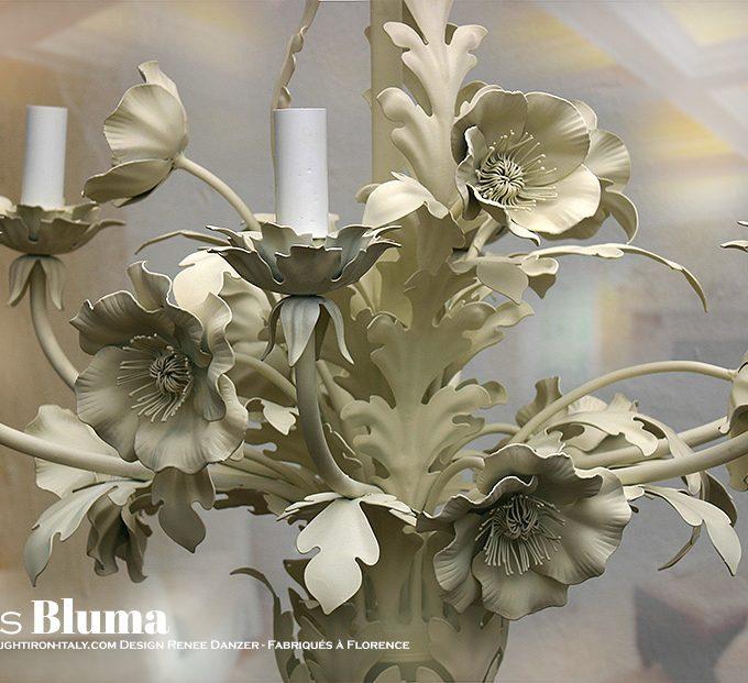 Lampadario Poppies Bluma. 6 Luci. Lampadario Papaveri colore bianco