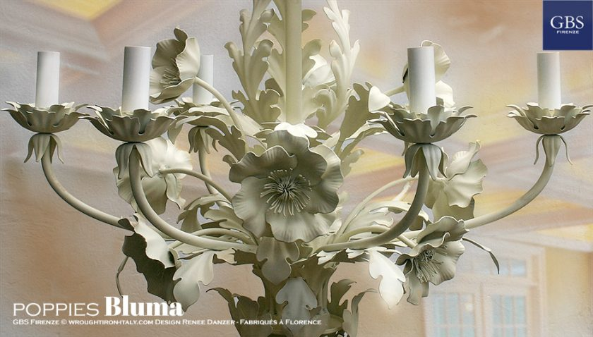 Bluma di GBS. Versione con Papaveri. Lampadario in ferro battuto e decorato a mano.