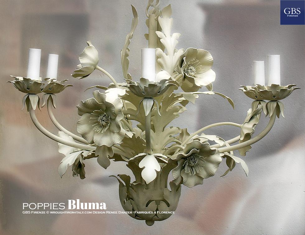 Lampadario Papaveri Bluma di GBS. Versione con Papaveri. Lampadario in ferro battuto e decorato a mano.