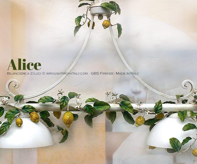 Lampadario Sospensione. Bilanciere Alice Limoni. 2 Luci GBS Firenze, Ferro battuto decorato a mano.